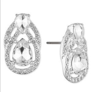 RALPH LAUREN Silver Crystal Teardrop Stud Earrings